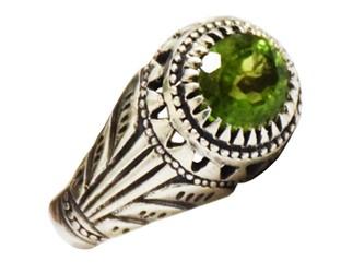 انگشتر زبرجد مردانه رکاب دست ساز بسیار مرغوب و خوش رنگ