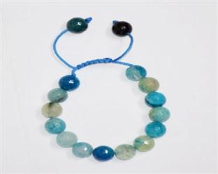 دستبند عقیق دریایی سفید آبی بندی کش بافت