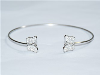 دستبند النگویی نقره طرح دو پروانه اتمی طرح جواهر