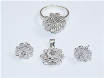 نیم ست نقره گل Flower با جواهر کاری زیرکونیا