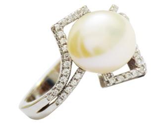 انگشتر مروارید اصل نقره طرح لوزی جواهری با آبکاری طلا سفید