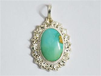 گردنبند نقره فیروزه نیشابور طرح جواهری سبز آبی