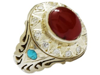 انگشتر نقره عقیق یمن طرح سلطنتی با فیروزه مخراج شده