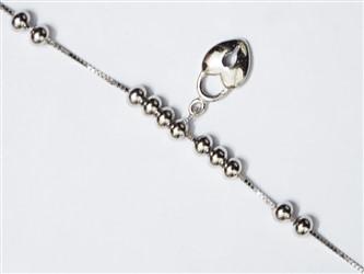 پابند نقره با آویز نقره طرح قفل  آبکاری شده با طلا سفید