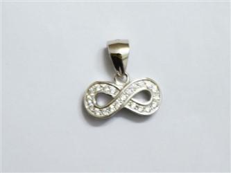 گردنبند نقره طرح بی نهایت جواهری با آبکاری طلا سفید