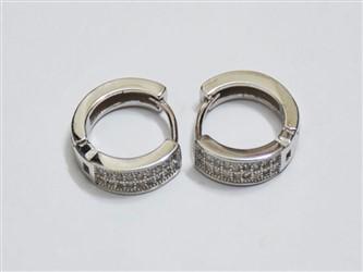 گوشواره نقره حلقه ای جواهری با نگین زیرکونیا آبکاری طلا سفید