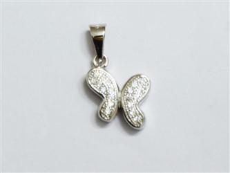 گردنبند نقره طرح پروانه جواهری با نگین های زیرکونیا آبکاری طلا سفید