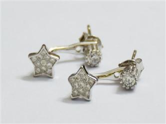 گوشواره نقره سوزنی طرح ستاره با نگین های زیرکونیا  طرح جواهر