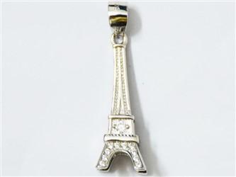 مدال تو گردنی نقره طرح برج ایفل جواهری