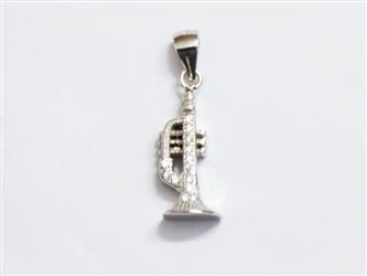 گردنبند نقره طرح ترومپت جواهری با نگین های زیرکونیا و آبکاری طلا سفید