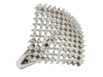 انگشتر نقره میکروستینگ با نگین زیرکونیا جواهری با آبکاری طلا سفید