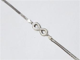 دستبند نقره طرحinfinity  جواهری با نگین زیرکونیا و روکش طلا سفید