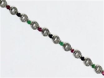 دستبند نقره مارکازیت با نگین های زمرد، یاقوت سرخ ،یاقوت کبود