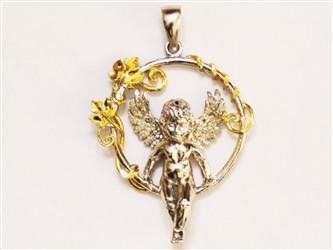 گردنبند نقره طرح حلقه و فرشته با روکش طلا سفید