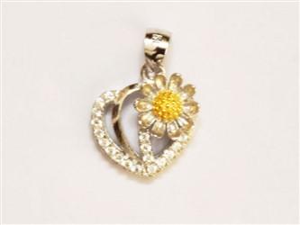 گردنبند نقره طرح گل آفتابگردان جواهری