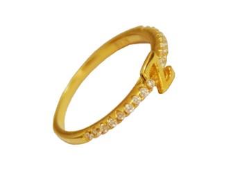 """انگشتر نقره بند انگشتی طرح حرف انگلیسی"""" Z"""" جواهری با نگین های زیرکونیا روکش طلا"""
