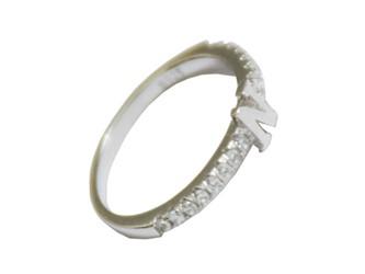 "انگشتر نقره بند انگشتی طرح حرف انگلیسی"" N"" روکش طلا سفید"