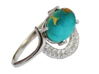 انگشتر نقره فیروزه نیشابور طرح هلال دار جواهری با نگین زیرکونیا آبکاری طلا سفید