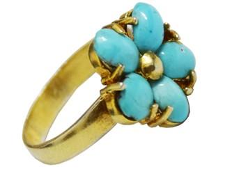 انگشتر نقره فیروزه نیشابور طرح گل آبکاری طلا زرد