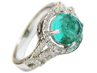 انگشتر نقره زمرد سنتیتیک جواهری با نگین های زیرکونیا