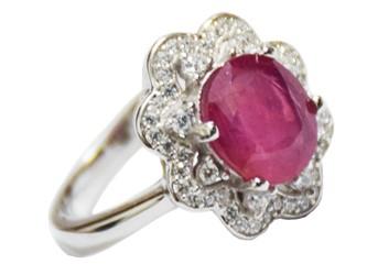 انگشتر نقره یاقوت سرخ آفریقا طرح گل جواهری