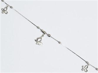 پابند نقره با آویز نقره طرح پروانه با روکش طلا سفید