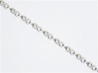 دستبند نقره طرح تمام infinity جواهری با نگین زیرکونیا و روکش طلا سفید