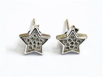 گوشواره نقره طرح ستاره پشت سوزنی جواهری با نگین های زیرکونیا  روکش طلا سفید