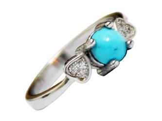 انگشتر نقره فیروزه نیشابور طرح دو قلب جواهری با نگین زیرکونیا آبکاری طلا سفید