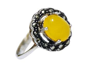 انگشتر نقره شرف الشمس مارکازیت طرح گل آفتابگردان قلم کاری شده