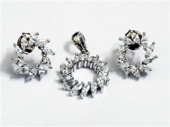 نیم ست نقره طرح چرخ دنده جواهری زیرکونیا روکش طلا سفید