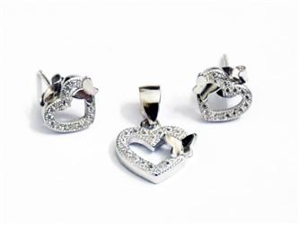 نیم ست نقره طرح قلب و پروانه جواهری با نگین زیرکونیا و روکش طلا سفید