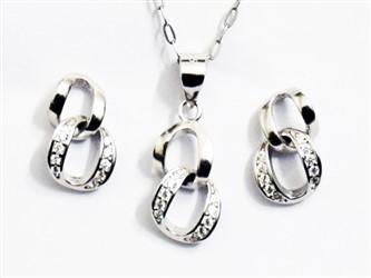 نیم ست نقره طرح دو حلقه جواهری با نگین زیرکونیا