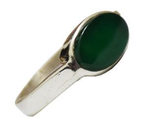 انگشتر نقره عقیق سبز بیضی رکاب ساده