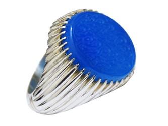 انگشتر نقره عقیق آبی حکاکی شده با دعای نادعلی رکاب دست ساز چنگ دار