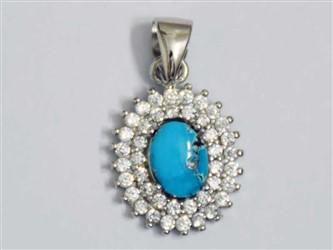 مدال تو گردنی نقره فیروزه نیشابور طرح جواهری با عیار 925