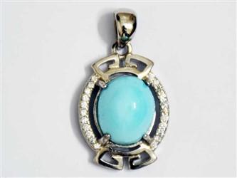 مدال تو گردنی نقره فیروزه نیشابور آبی عجمی طرح جواهری
