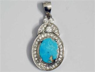 مدال تو گردنی نقره فیروزه نیشابور طرح جواهری آبکاری طلا سفید با نگین های زیرکونیا