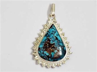 مدال تو گردنی نقره فیروزه نیشابور آبی شجر اشکی طرح جواهری