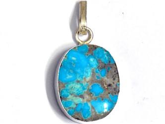 مدال تو گردنی نقره فیروزه نیشابور آبی شجر  با عیار 925