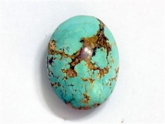 سنگ فیروزه نیشابور بیضی سبز آبی شجر با رگه های طلایی زیبا