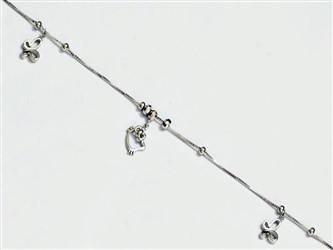 پابند نقره با آویز نقره طرح پروانه و کیتی جواهری  آبکاری شده با طلا سفید