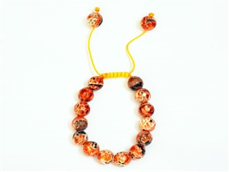دستبند عقیق دریایی نارنجی اصل کش بافت