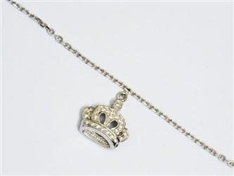 پابند نقره با آویز نقره طرح تاج با روکش طلا سفید طرح جواهری