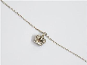 پابند نقره با آویز نقره طرح تاج سه بعدی روکش طلا سفید جواهری