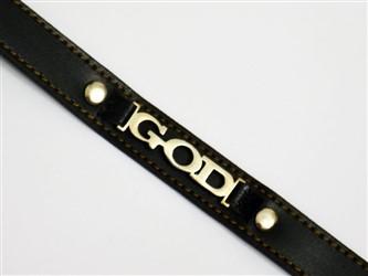 """دستبند چرم با پلاک نقره طرح"""" GOD"""" با بالاترین عیار نقره 925"""