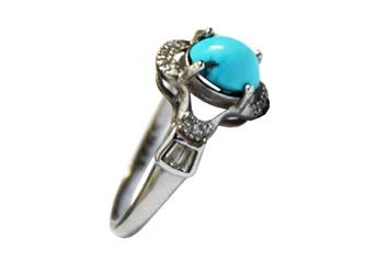 انگشتر نقره فیروزه نیشابور آبی شجر زنانه جواهری با نگین های زیرکونیا و روکش طلا سفید