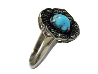انگشتر نقره فیروزه نیشابور آبی شجر زنانه مارکازیت با بالاترین عیار نقره 925  تضمین ثبات رنگ