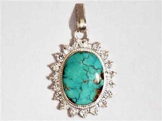 مدال تو گردنی نقره فیروزه نیشابور شجر سبز آبی طرح جواهری