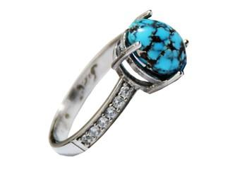 انگشتر نقره فیروزه نیشابور زنانه جواهری آبکاری طلا سفید
